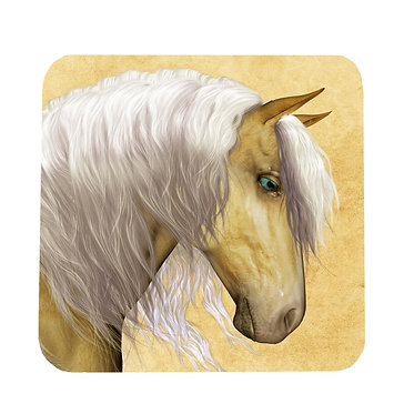 Neoprene drink coaster with palomino horse image front view