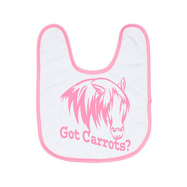 Pink and white baby bib got carrots horse image front view