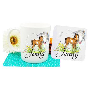 Personalised ceramic coffee mug and coaster set mare and foal horse front view