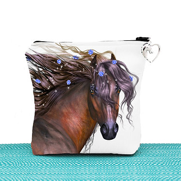 White cosmetic toiletry bag with zipper magical horse image front view