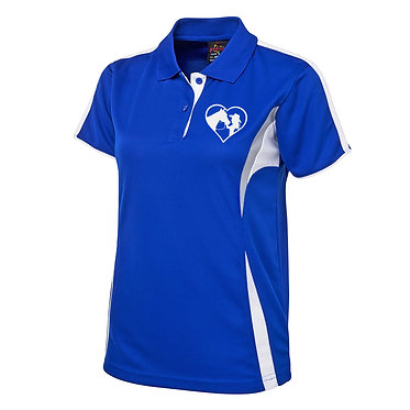 Ladies cool polo shirt royal blue white horse love image front view