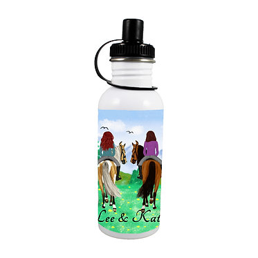 Personalised stainless steel water bottle best friends horse riding image front view