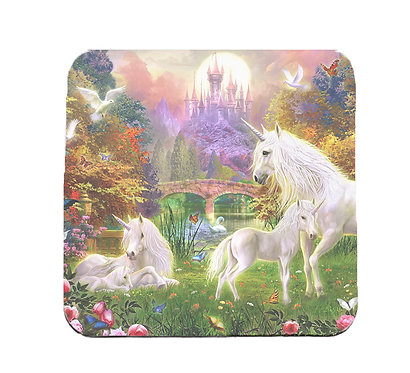 Fantasy unicorns in forest coaster set front view