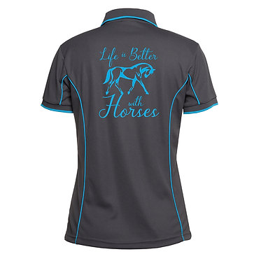Ladies horse pipping polo shirt charcoal aqua life is better with horses image back view