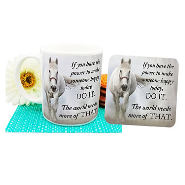 "Ceramic coffee mug and drink coaster set with horse and quote ""If you have the power"" image front view"