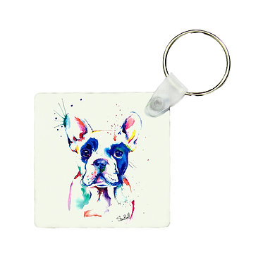 Square wood key ring painted rainbow dog image great dog gift front view