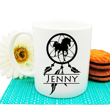 Personalised ceramic coffee mug dream catcher horse image front view