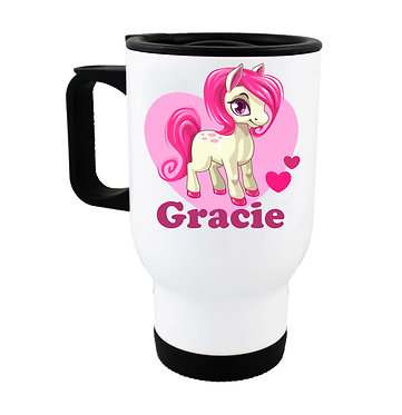 Personalised travel mug stainless steel cute pony and hearts hot pink image front view
