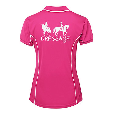 Ladies horse pipping polo shirt hot pink white dressage horse image back view