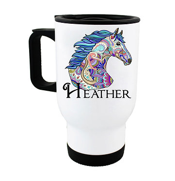 Personalised travel mug stainless steel painted horse image front view