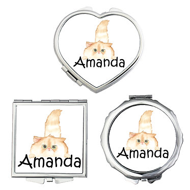 Compact mirrors three shapes round, square, heart personalized with name and cute fluffy cat image front view