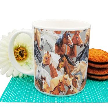 Horse pattern ceramic coffee mug front view