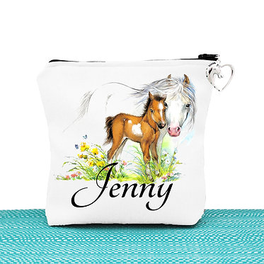 White cosmetic toiletry bag with zipper personalised mare and foal horse image front view
