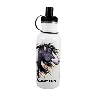 Personalised stainless steel water bottle black and white horse image front view