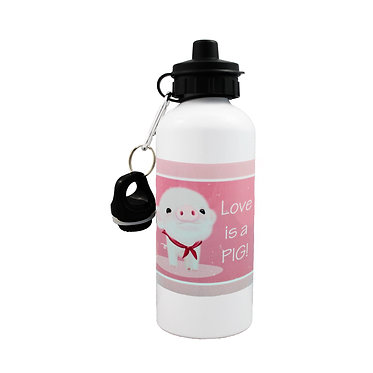 Sports water bottle with cute pig image and text i love pigs! front view lid on