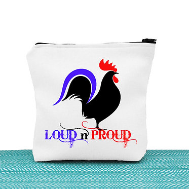 White cosmetic toiletry bag with zip rooster image with text loud n proud front view