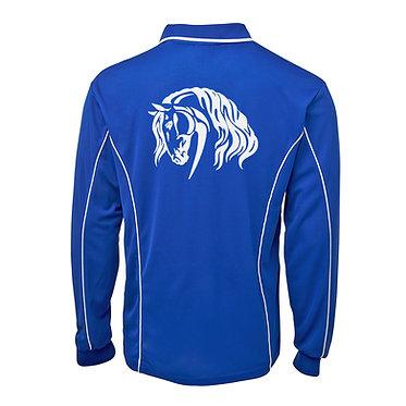 Adults long sleeve polo shirt royal blue white heavy horse image back view