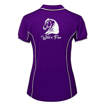 Ladies horse pipping polo shirt purple white heavy horse wild n free image back view