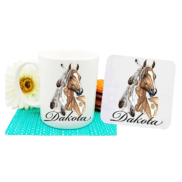 Personalised ceramic coffee mug and coaster set paint horse with feathers front view
