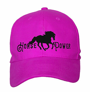 Hot pink with black image cap hat with horse image and horse power text front view
