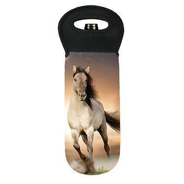 Wine cooler carry bag neoprene buckskin horse cantering image front view