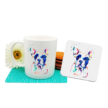 Dog themed coffee mug and coaster set with rainbow watercolor dog image front view