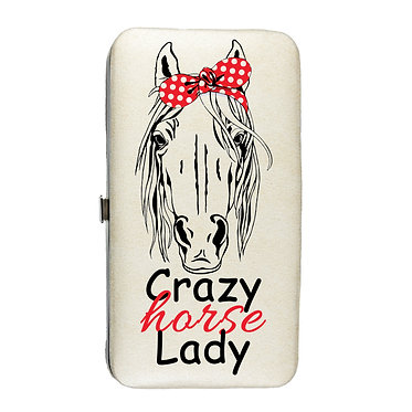Ladies hard case purse wallet with mobile phone mount inside crazy horse lady image view
