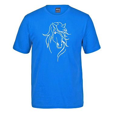 Adults cotton t-shirt aqua with a beautiful horse with a long mane image front view