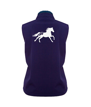 Ladies softshell vest navy with white Appaloosa horse image back view