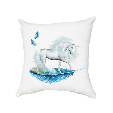 White cushion cover with zip unicorn on blue feather image front view