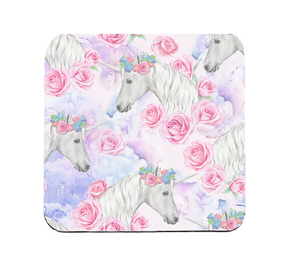 Neoprene coaster sets with white unicorn pattern front view