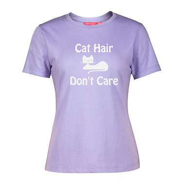 Ladies slim fit t-shirt lilac with white cat hair don't care image front view