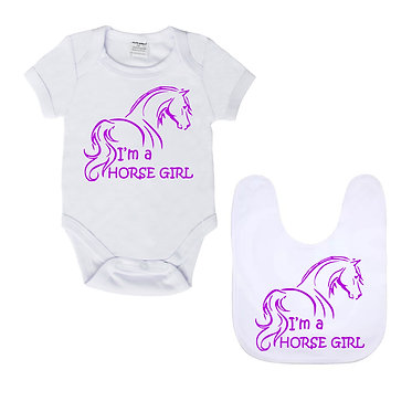 Baby romper play suit and matching bib gift set in white with purple I'm a horse girl image front view