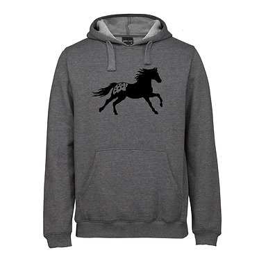 Hoodie jumper adults charcoal merle with a Appaloosa horse image front view