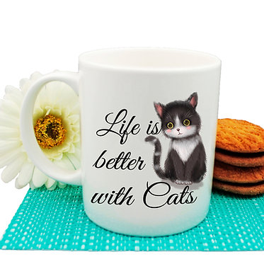 "Ceramic coffee mug black and white cat and quote ""Life is better with cats"" image front view"