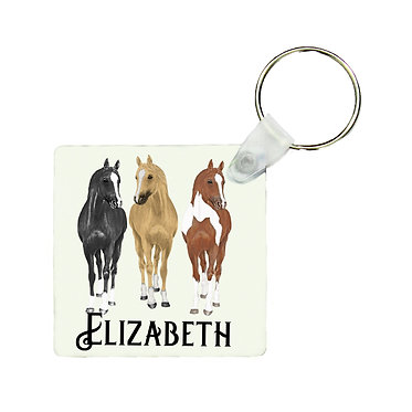 Personalised square MDF wood key-ring three horses image front view