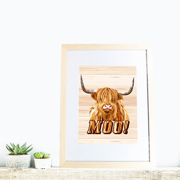 Rectangle wood picture frame with highland cow image and text moo! front view