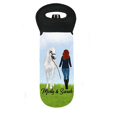 Personalised wine cooler carry bag neoprene red haired girl and horse image front view