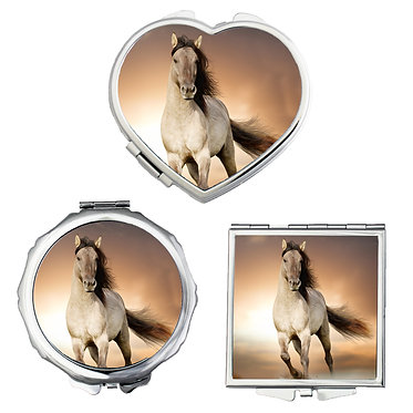Compact mirrors in 3 shapes heart, round and square buckskin horse cantering image front view