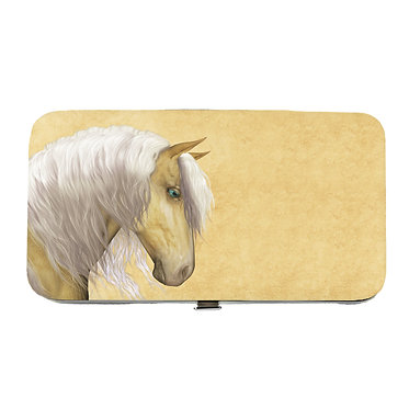 Ladies hard case purse wallet with mobile phone mount inside palomino horse image view