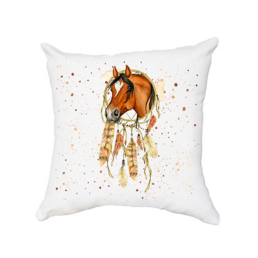 White cushion cover with zip dream catcher horse image front view