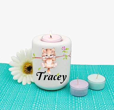 Personalized ceramic tealight candle holder cute kitty on branch image front view