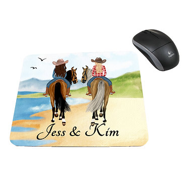 Neoprene computer mouse pad personalised best friends horse beach image front view