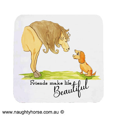 Neoprene drink coaster with horse and dog friendship image front view