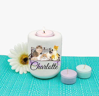 Personalized ceramic tealight candle holder cats on bench image front view