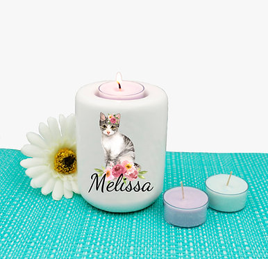 Personalized ceramic tealight candle holder cat with flowers image front view