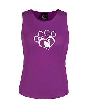 Ladies singlet top mulberry with cat in paw print image front view