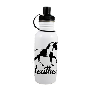 Personalised stainless steel water bottle paint horse image front view