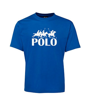 Men's t-shirt horse polo players royal blue front view