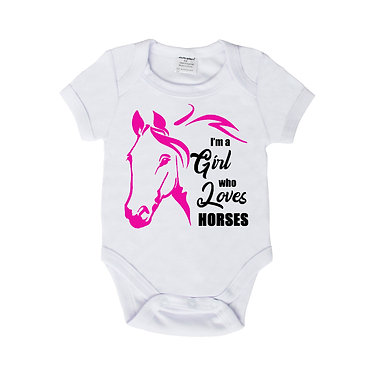 Baby romper play suit white with hot pink I'm a girl who loves horses image front view